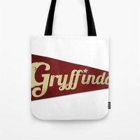 gryffindor Tote Bags featuring Gryffindor 1948 Vintage Pennant by Andy Pitts