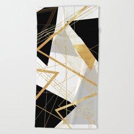 Black and Gold Geometric Beach Towel