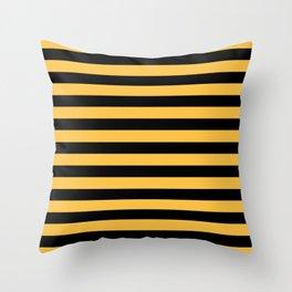 Yellow and Black Bumblebee Stripes Throw Pillow
