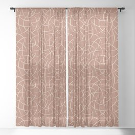 Creamy Off White SW7012 Abstract Crescent Shape Pattern on Cavern Clay SW 7701 Sheer Curtain