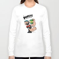 popeye Long Sleeve T-shirts featuring Popeye The Hipster by Biagio Black