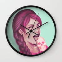 tooth Wall Clocks featuring Sweet Tooth by Wendy Stephens
