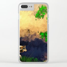 Wolf Landscape Watercolor (Color) Clear iPhone Case