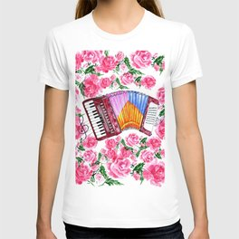 Accordion with pink roses T-shirt