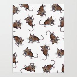Cute Brown Field Mice, Mouse, Oil Pastel Art, Pattern Poster