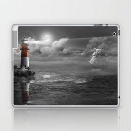 Lighthouse and Sailboat under moonlight Laptop & iPad Skin