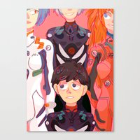 evangelion Canvas Prints featuring Evangelion Kids by minthues