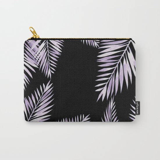 Watercolor tropical palm leaves purple Carry-All Pouch