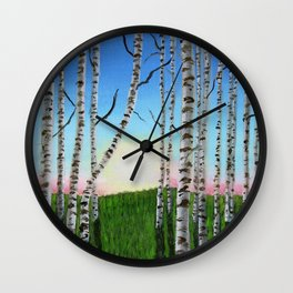 Birch Trees at Sunset Wall Clock