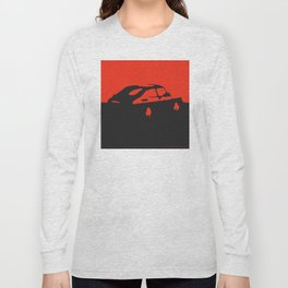 Saab 900 classic, Red on Black Long Sleeve T-shirt