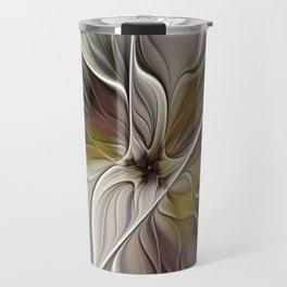 Floral Abstract, Fractal Art Travel Mug