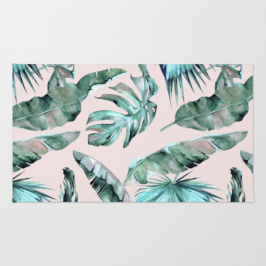 Tropical Palm Leaves Turquoise Green Coral Pink Rug By