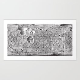 Map of Phobos, Moon of Mars Art Print