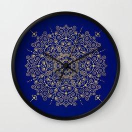 Moroccan Mandala – Gold Ink on Navy Wall Clock