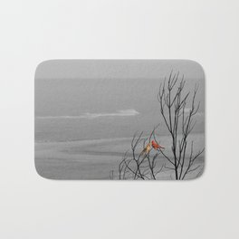 Red Cardinal Birds Black and White Beach Coastal A195 Bath Mat