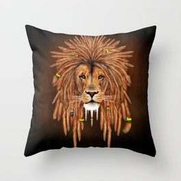 Dreadlock Lion Throw Pillow