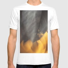 Flames in the Dark (abstract) White MEDIUM Mens Fitted Tee