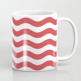 Red Nautical Waves Coffee Mug