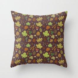Kawaii Leaves on Red Throw Pillow