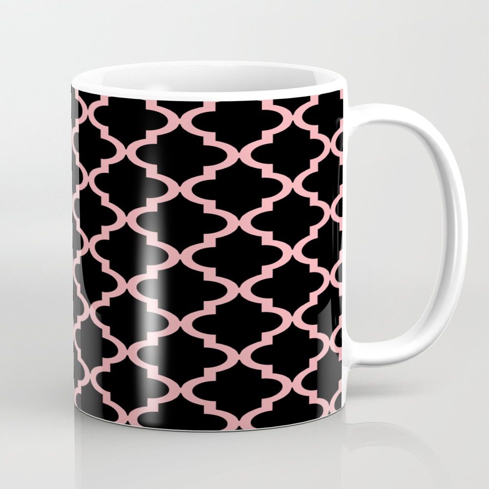 Moroccan Quatrefoil Pattern: Black & Pink Tea Cup by Jsdavies MUG8945961