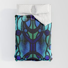 Blue and Aqua Stained Glass Victorian Design Duvet Cover