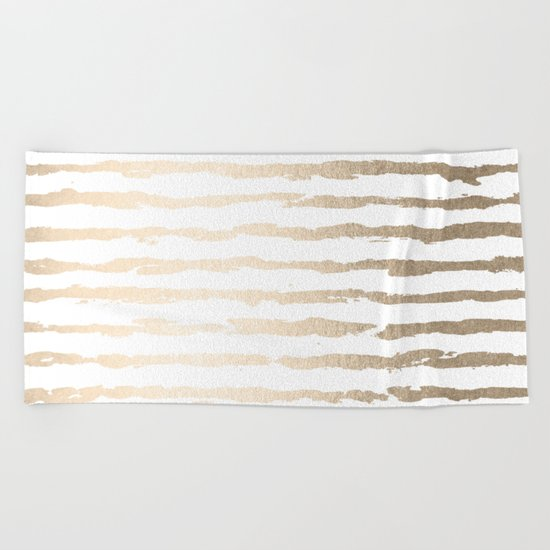 Simply Brushed Lines White Gold Sands on White Beach Towel