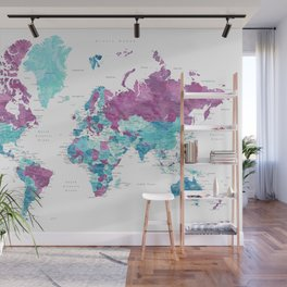 """Purple and turquoise watercolor world map with cities, """"Blair"""" Wall Mural"""