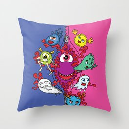 Monsters under the zipper Throw Pillow
