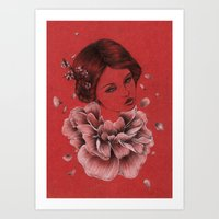 peony Art Prints featuring Peony by The White Deer
