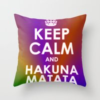 hakuna Throw Pillows featuring hakuna matata by  Alexia Miles photography