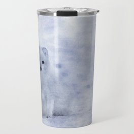 Watercolor Arctic Fox Travel Mug