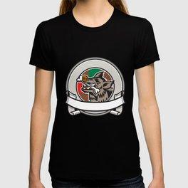 Wild Boar Razorback Bone In Mouth Circle Ribbon Retro T-shirt