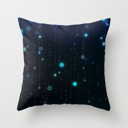 Christmas Holiday Winter Snowflakes Night Background Throw Pillow