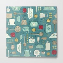 Vintage Kitchen Utensils / Teal Metal Print