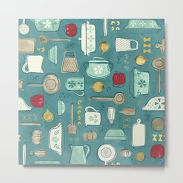 Vintage Kitchen Utensils / Teal Metal Print