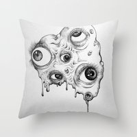 the thing Throw Pillows featuring Thing by Isabel Peace