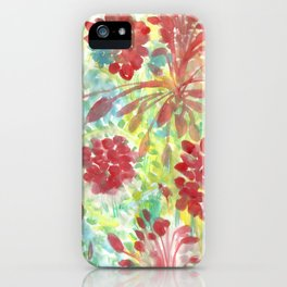 Ixora and Ferns - Watercolor iPhone Case
