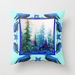 BLUE BUTTERFLIES BLUE BIRDS BLUE FOREST ART Throw Pillow