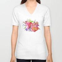hawaiian V-neck T-shirts featuring Hawaiian Flowers by Nicko-Suave Art