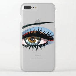 Blue eye with make up Clear iPhone Case