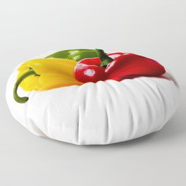 Three Bell Peppers Against The White Background. A Red Pepper To The Front Floor Pillow