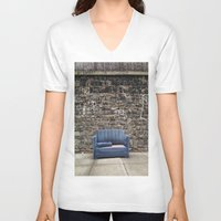 sofa V-neck T-shirts featuring sofa free by danielle marie