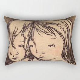 Girls caught in the wind Rectangular Pillow