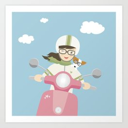 Scooter Girl with Dog Illustration Art Print