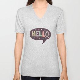 Hello Speech Bubble Unisex V-Neck