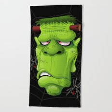 Frankenstein Ugly Portrait and Spiders Beach Towel