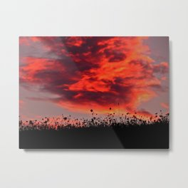 Sun Sets in the Field Metal Print