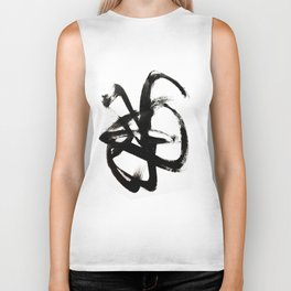 Brushstroke 4 - a simple black and white ink design Biker Tank