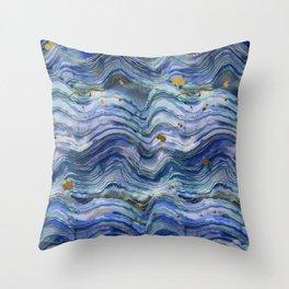 Blue Green Geode Watercolor Throw Pillow