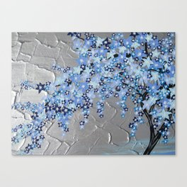 blue cherry blossom with silver grey gray white tree trees japanese japan beautiful prints Canvas Print